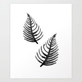 Black Watercolor Leaf Art Print