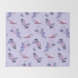 Lilac Flamingo Toille Throw Blanket