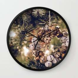 Jingle Bell Wreath on Christmas Tree (Color) Wall Clock