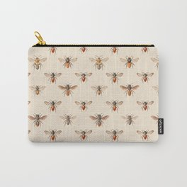 Vintage Bee Illustration Pattern Carry-All Pouch