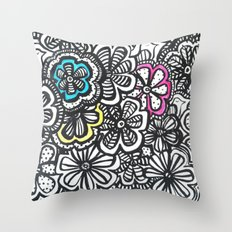 Doodle Birds and Flowers Throw Pillow