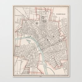 Vintage Map of Nashville Tennessee (1901) Canvas Print