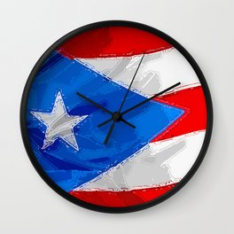Puerto Rico Fancy Flag Wall Clock