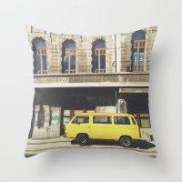 yellow submarine Throw Pillows featuring Yellow submarine by monicamarcov