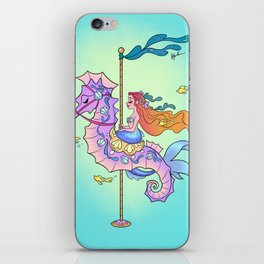 Mermaid on Carousel - Ink Version iPhone Skin