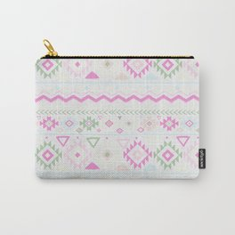 Blush Pink green geometrical aztec tribal Carry-All Pouch