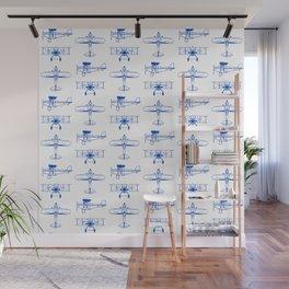 Blue Biplanes Wall Mural