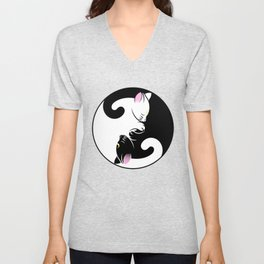 Yin yang cats in black and pink Unisex V-Neck