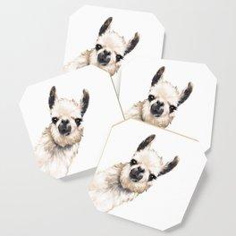 Sneaky Llama White Coaster