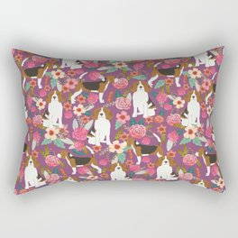 Beagle floral pattern dog breed gifts must have beagles florals pupper Rectangular Pillow