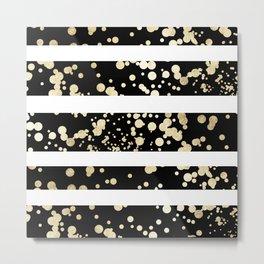 Stylish black and white faux gold confetti stripe Metal Print