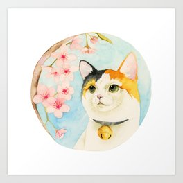 """""""Hanami"""" - Calico Cat and Cherry Blossom Art Print"""