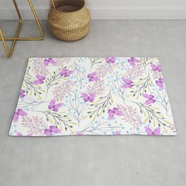 Violet lavender watercolor butterfly pastel flowers Rug