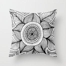 Doodle Flower Throw Pillow