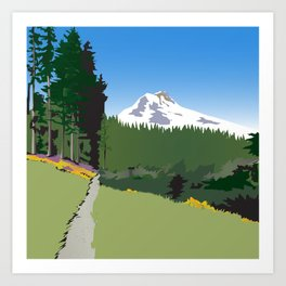 Mt Hood Meadows Hike Art Print