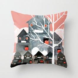 Robots at the garden Throw Pillow