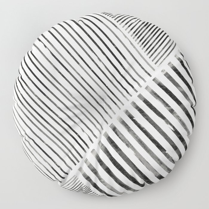 Black and White Stripes, Abstract Floor Pillow