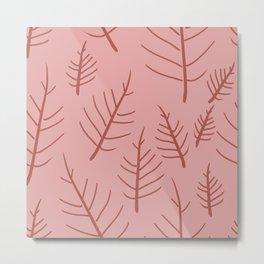 Leaves for Ashley line art  - pink Metal Print