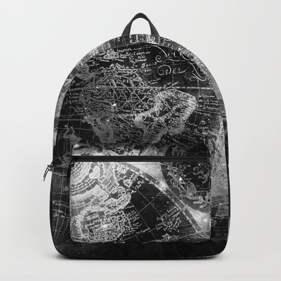 Antique Map Space Stars Black and White Backpack