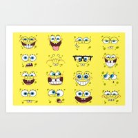 spongebob Art Prints featuring Spongebob  by Lyre Aloise