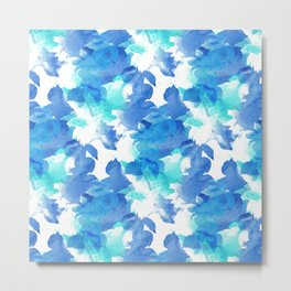 Blue watercolor painted leaves Metal Print
