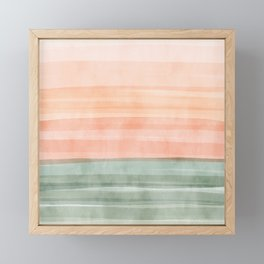 Soft Green Waves on a Peach Horizon, Abstract _watercolor color block Framed Mini Art Print