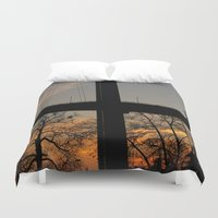 istanbul Duvet Covers featuring Istanbul Bridge by habish