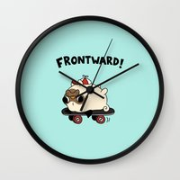 pug Wall Clocks featuring PUG. by Jarvis Glasses