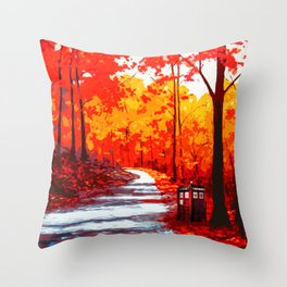 Tardis Art Autumn Throw Pillow