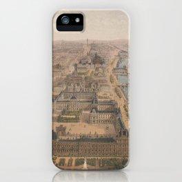 Vintage Paris & The Louvre Palace Map (1879) iPhone Case