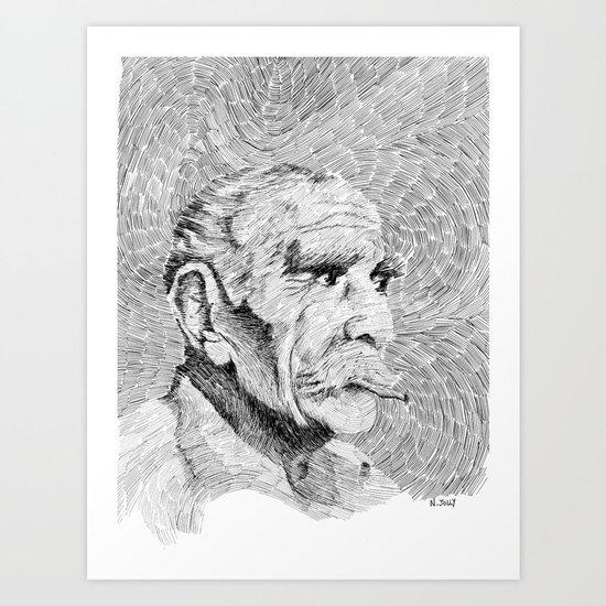 Hombre - black ink Art Print