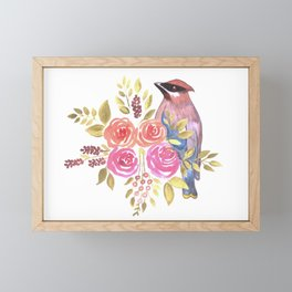 cedar waxwing with pink and orange roses and leaves Framed Mini Art Print