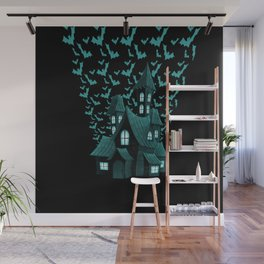 Wrath Blue Halloween Haunted House Bat Flyover Wall Mural