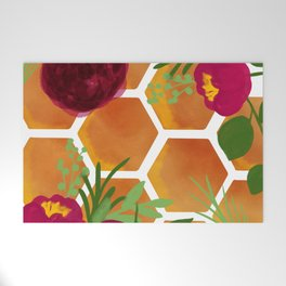Honeycomb and Flowers Welcome Mat