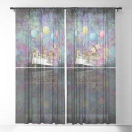 Starry Night Tea Party - Alice In Wonderland Sheer Curtain