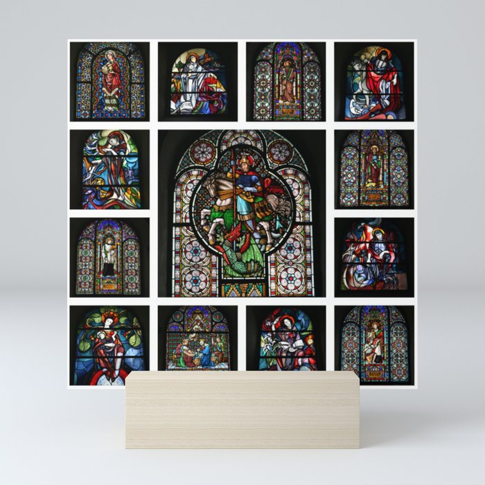 Stained Glass Windows Collage Mini Art Print by stine1