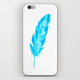 Watercolor abstract turquoise feather iPhone Skin