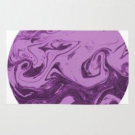 Marble circle minimal design suminagashi japanese marbling minimalist art pastel purple white Rug