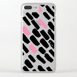 Oblique dots black and white pink Clear iPhone Case