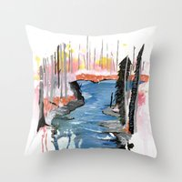 river Throw Pillows featuring River by Halfmoon Industries