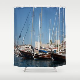 Traditional Turkish Gulets In Marmaris Harbour Shower Curtain