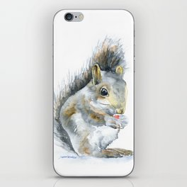 Gray Squirrel Watercolor Painting iPhone Skin