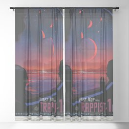 NASA Visions of the Future - Planet Hop from Trappist-1e Sheer Curtain
