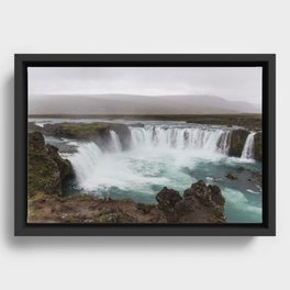 Godafoss waterfall in Iceland - nature landscape Framed Canvas