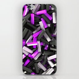 Pile of black, white and purple hexagon details iPhone Skin