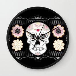 Sugar Skull Papel Picado - Day of the dead Wall Clock