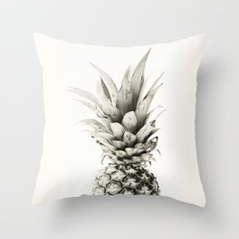 Pineapple black and white photograph Throw Pillow