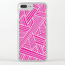 Abstract pink & white Lines and Triangles Pattern - Mix and Match with Simplicity of Life Clear iPhone Case