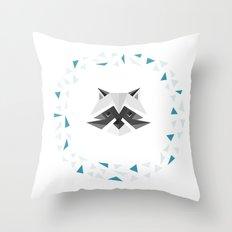 Geometric Racoon Throw Pillow