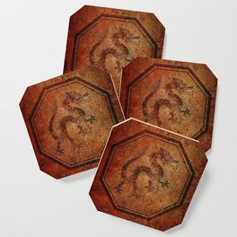 Distressed Chinese Dragon In Octagon Frame Coaster